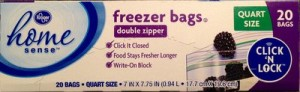 Kroger home sensetm Freezer bags, 20 count, quart size with write-on block