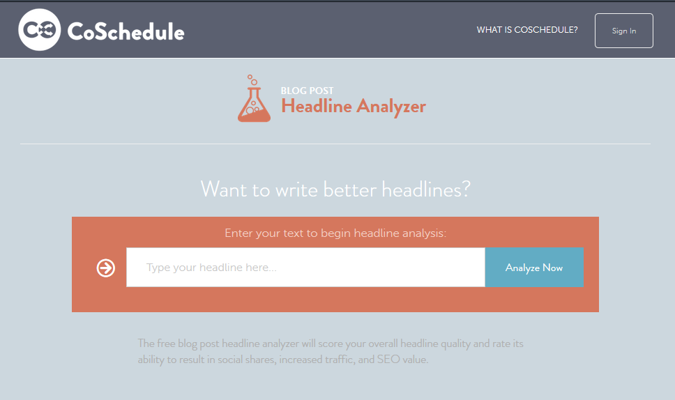 Blogging Headline Analyzer