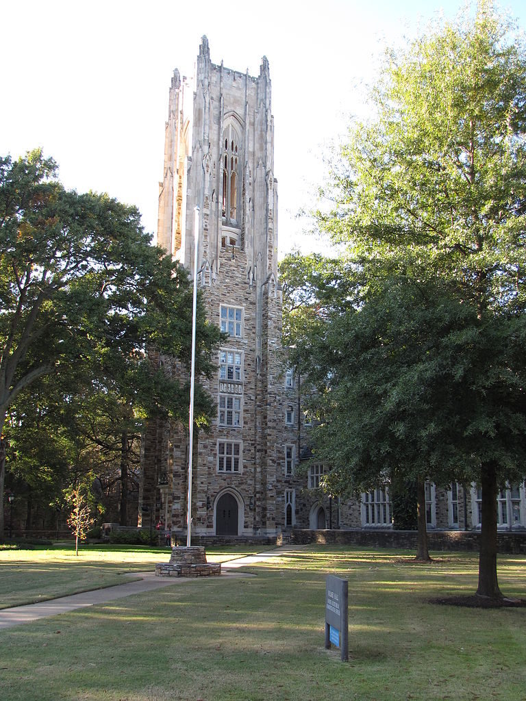 Halliburton Tower, on the campus of Rhodes College (Memphis, Tennessee, USA), viewed from the east-southeast.  24 October 2009 by Ed Uthman.