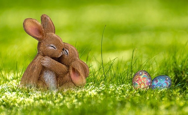 Easter bunnies and egg