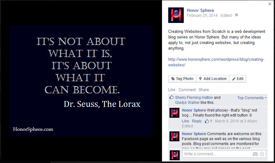 It's not about what it is, it's about what it can become. ~ Dr. Seuss, The Lorax
