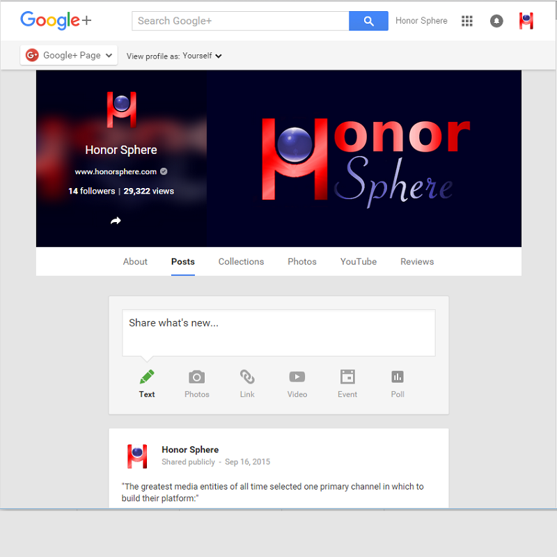 Honor Sphere Google Business Account